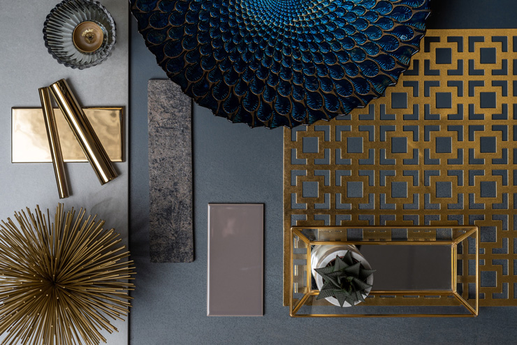 navy moodboard with gold tones