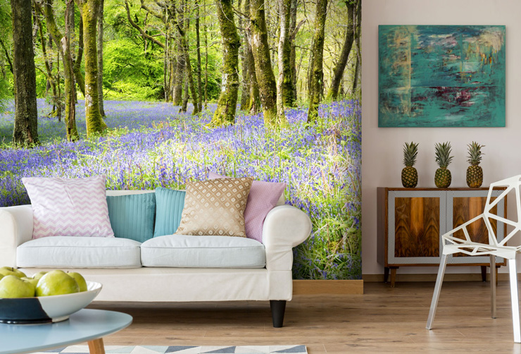 forest mural with bluebells in lounge