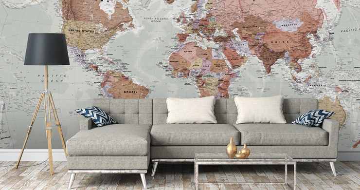 living room with map mural