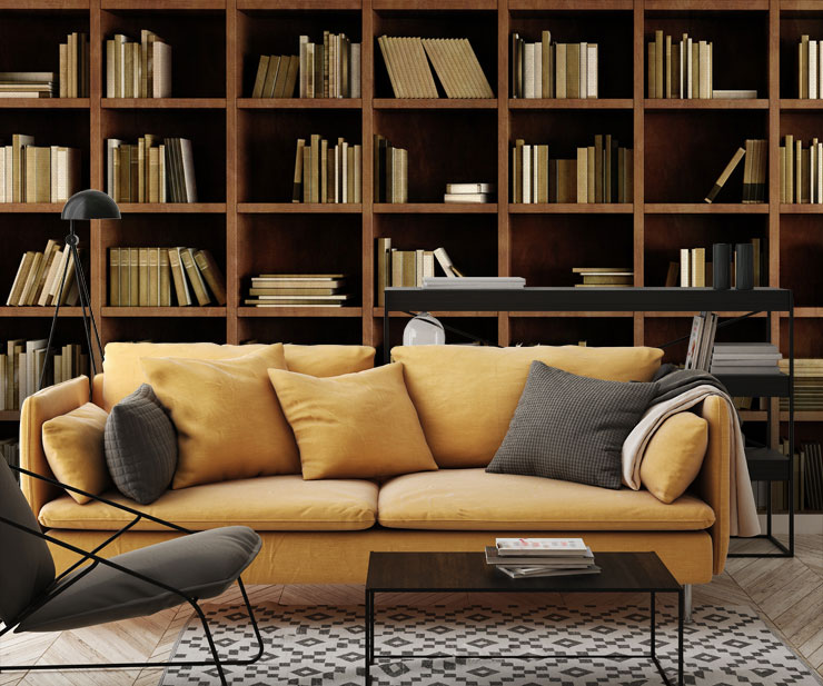 bookcase mural in lounge with ochre sofa