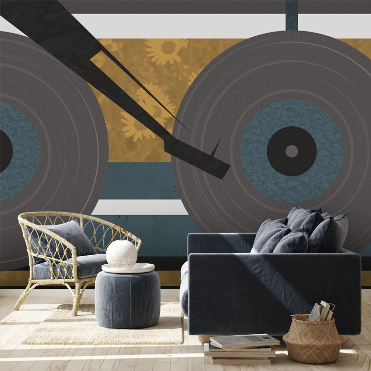 music mural in sunlit sitting room
