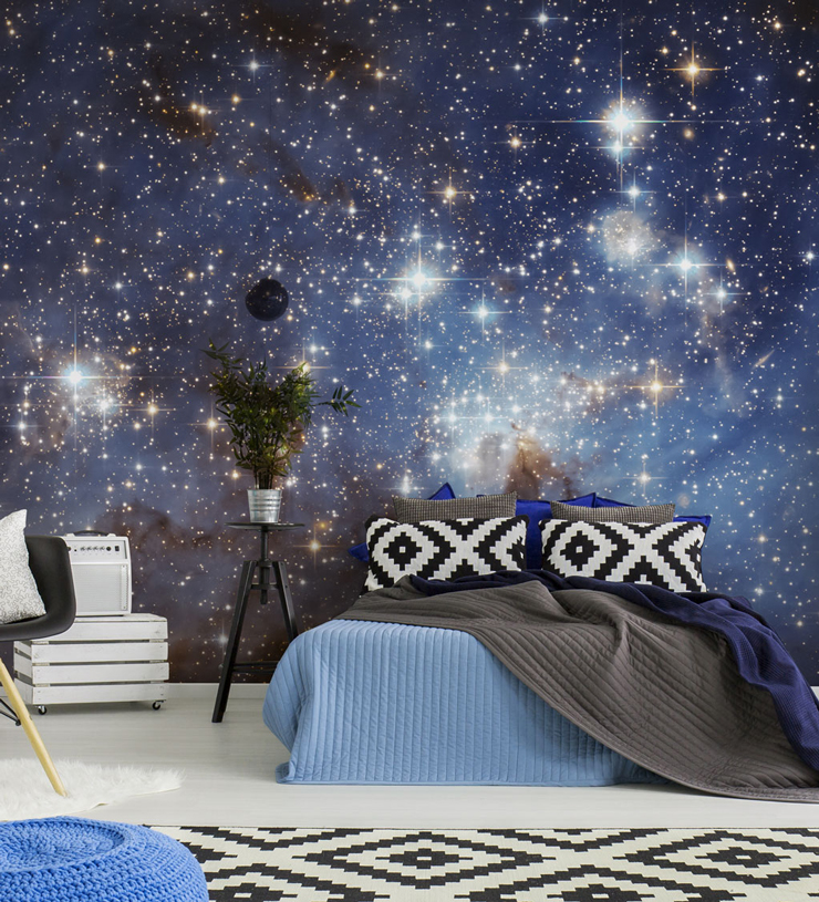 stars in space wall mural in bedroom
