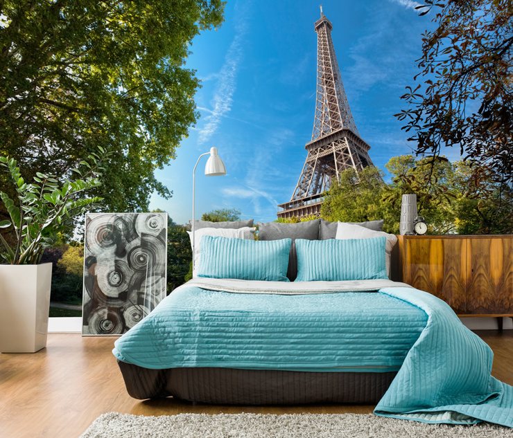 Paris wall mural with Eiffel tower in bedroom