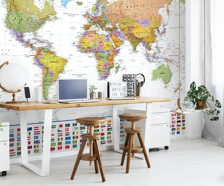 colourful map mural in study