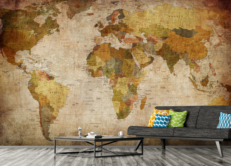 vintage map mural in lounge