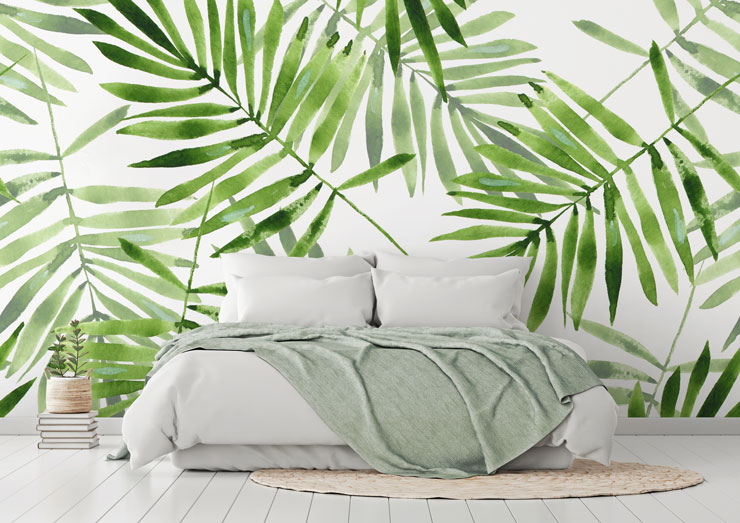 green palm wallpaper in off white boho bedroom