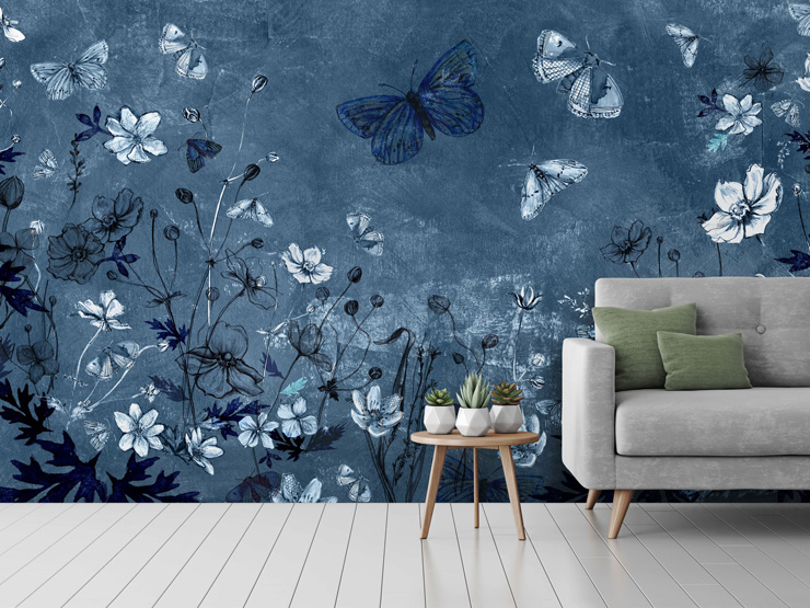 blue floral living room mural by Bryony Halsted