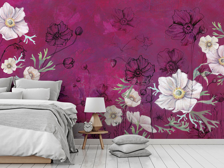 pink floral bedroom mural by Bryony Halsted