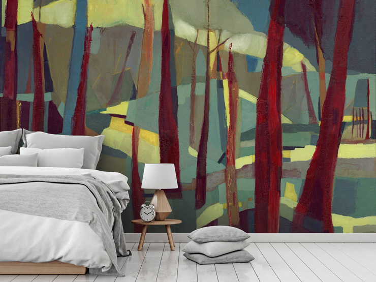 abstract bedroom mural by Danielle Nelisse