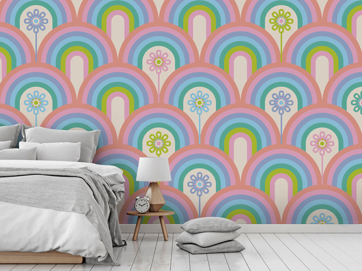 vibrant patterned mural by Jackie Tahara