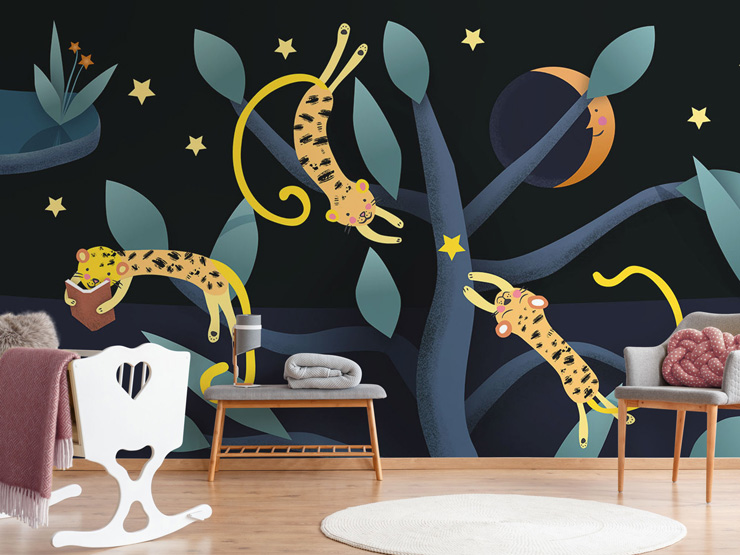 cute kids wallpaper with leopards by Kate England
