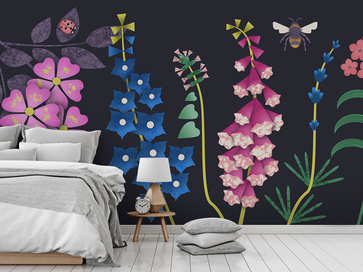 Colourful floral mural with black background by Kate England