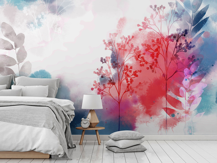 Watercolour floral mural in bedroom by Katy Clemmans