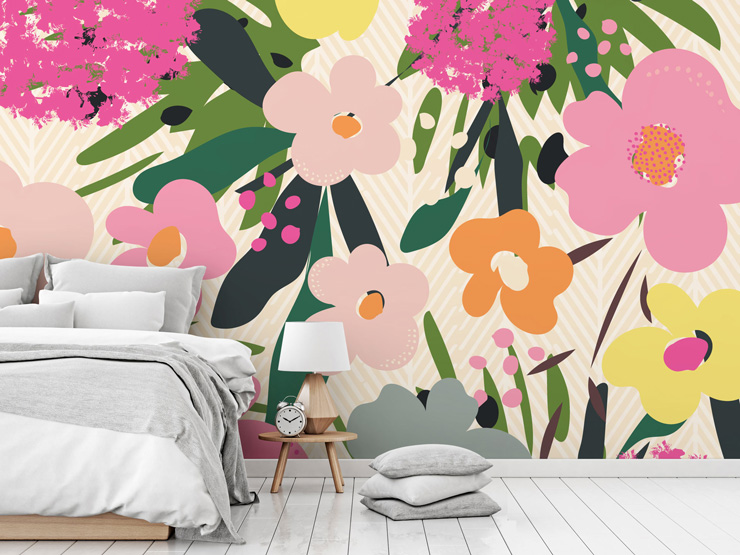 Bold floral patterned wallpaper in bedroom by Neelam Kaur