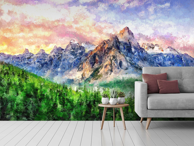 Landscape mural in lounge by Tenyo Marchev
