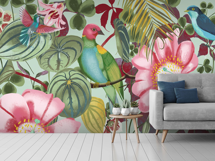 Tropical wallpaper in lounge by Uta Krogmann