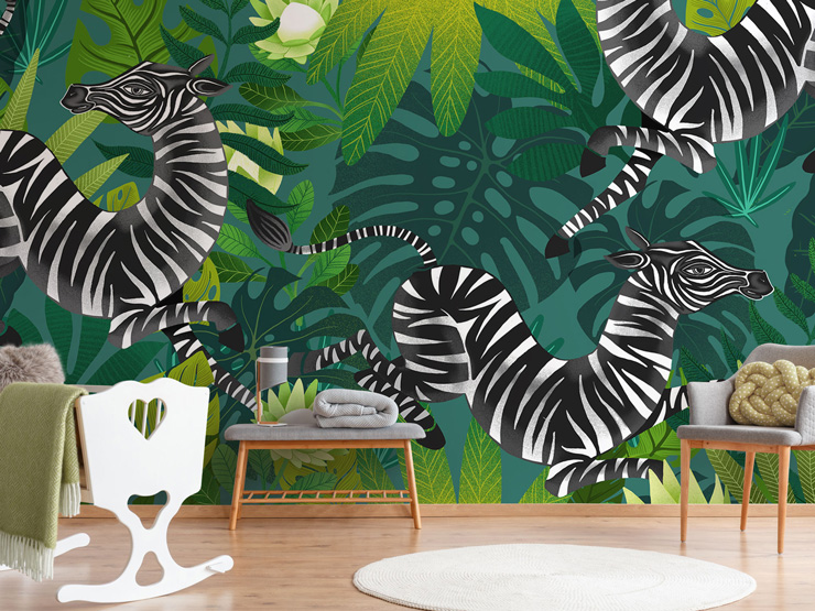 Zebra with leaf print mural in nursery by Michael Zindell