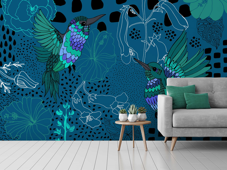 blue bird mural in living room by Yani Mengoni