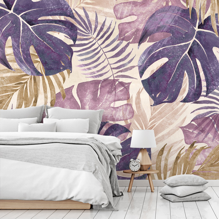 pink banana leaf wallpaper in neutral bedroom