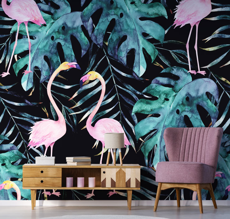 dark flamingo print wallpaper.