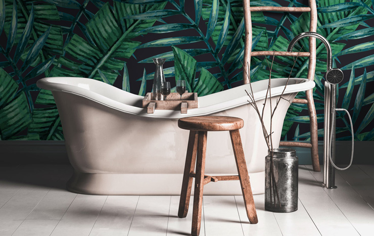 bathroom idea with jungle bold wallpaper