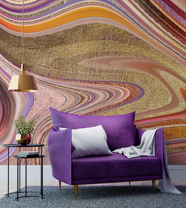 psychedelic agate wallpaper design in pinks and purples
