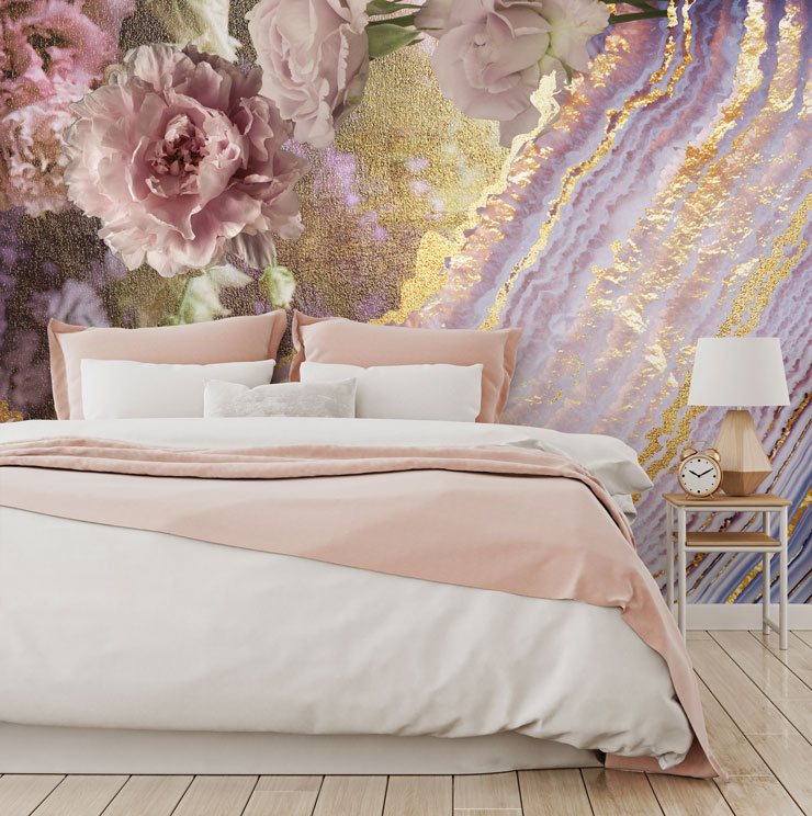 floral agate wallpaper in bedroom