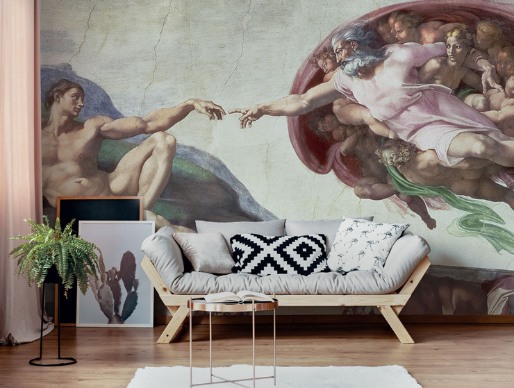 large scale art mural on small apartment wall