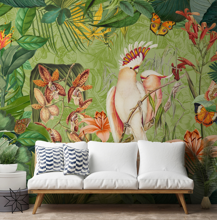 botanical wallpaper trend in living room