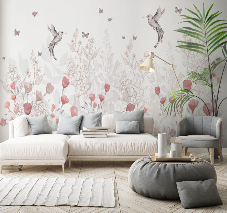 magnolia floral wallpaper in lounge