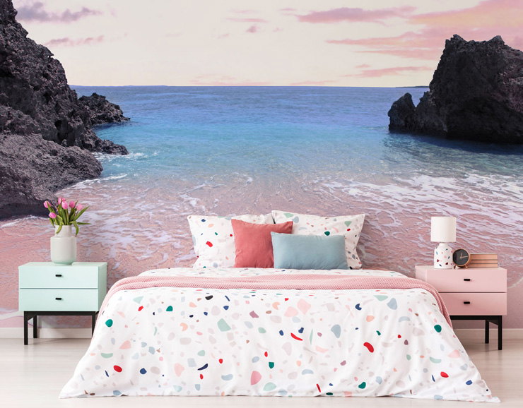 sea beach mural in girls bedroom