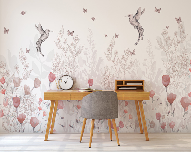floral wallpaper in teenage girls bedroom