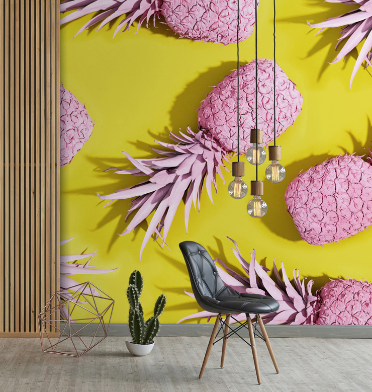yellow and pink pineapple wallpaper mural