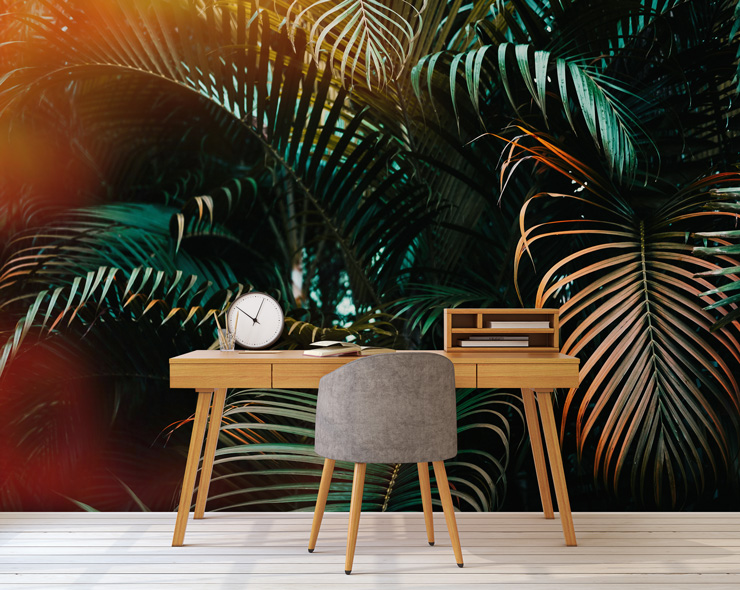 palm tree wall mural in home office