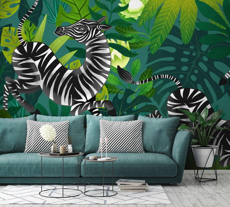 zebra wallpaper in modern living room