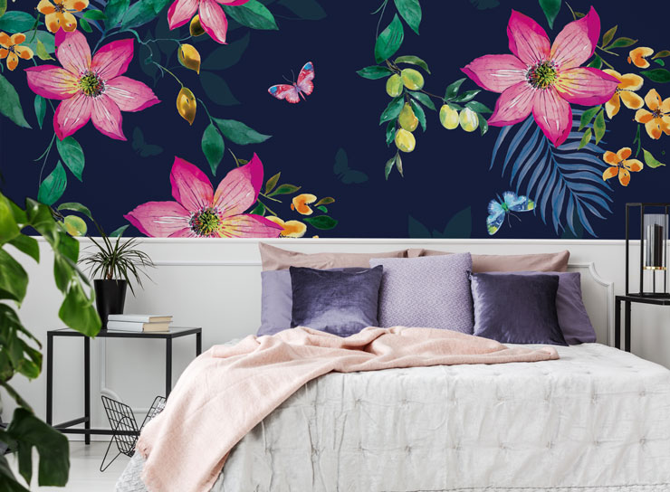 navy blue and flower wallpaper