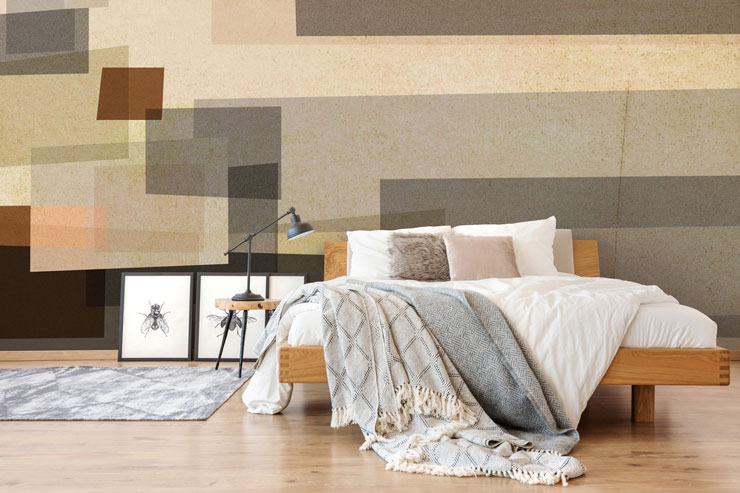 Abstract wallpaper in master bedroom