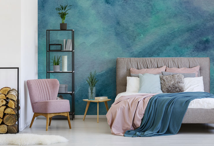 watercolour wallpaper in bedroom
