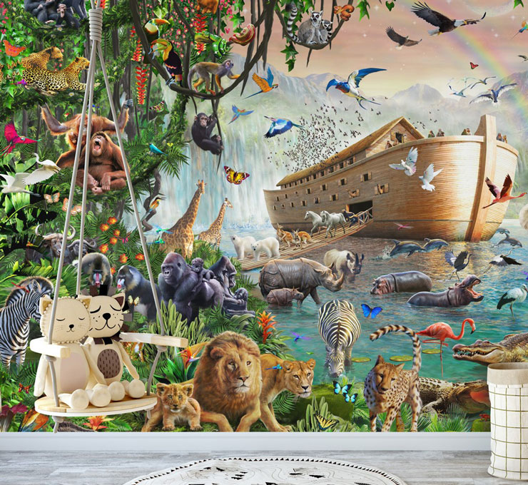 Noah's ark mural for new baby boy bedroom ideas