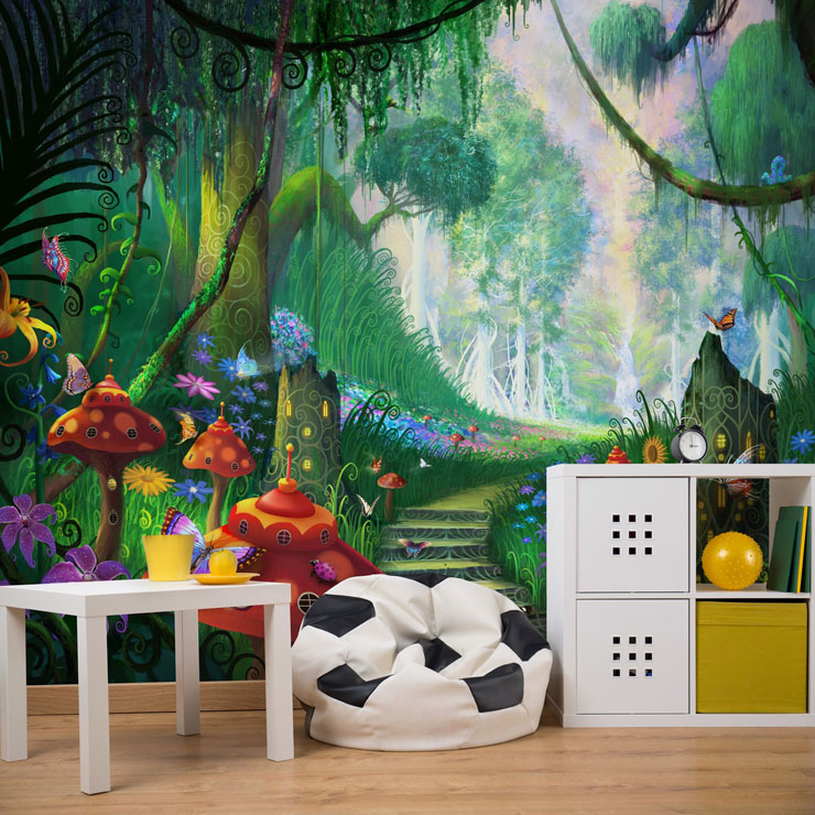 Fairy town in a forest mural for new baby boy bedroom ideas