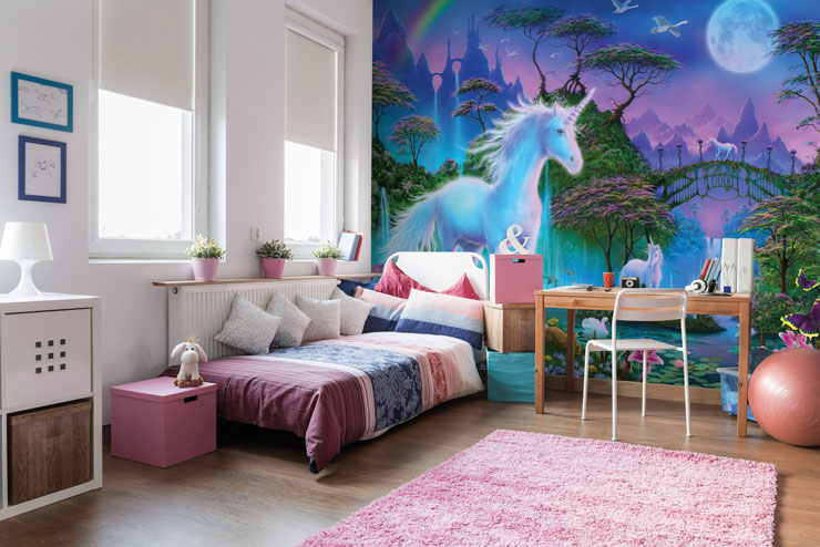 Unicorn wallpaper in white girls bedroom