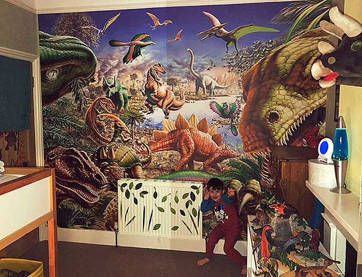 dinosaur mural in bedroom