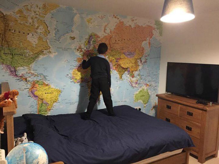 map mural in boys bedroom
