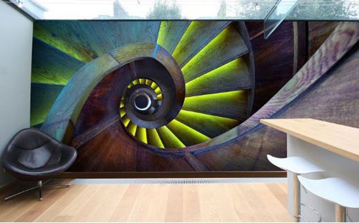 abstract stairs art in kitchen