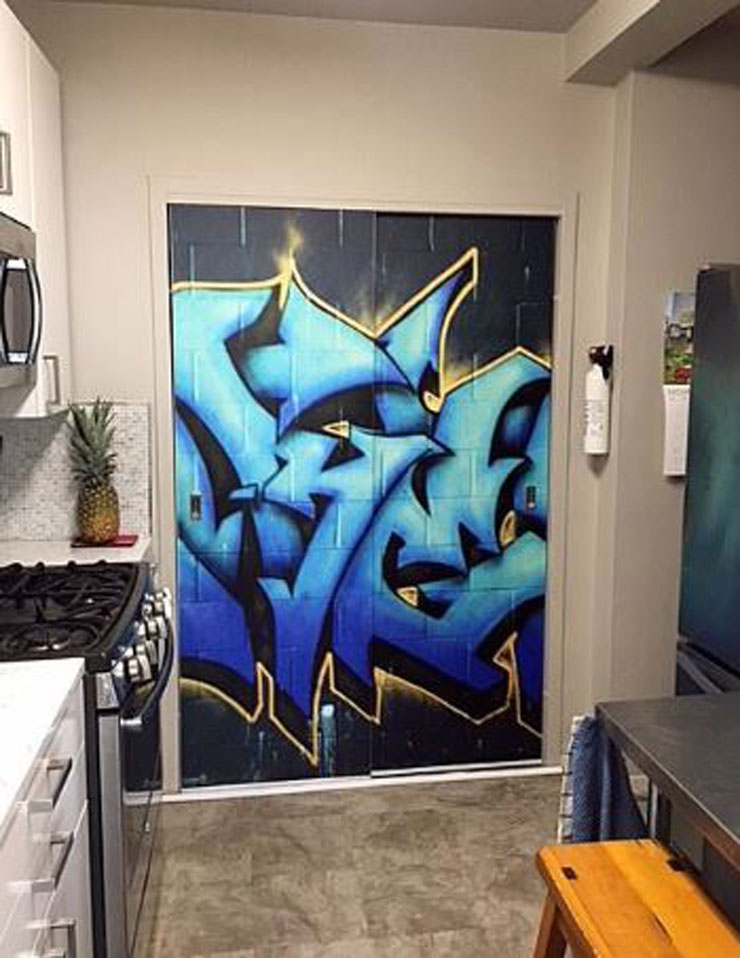 graffiti wallpaper in kitchen