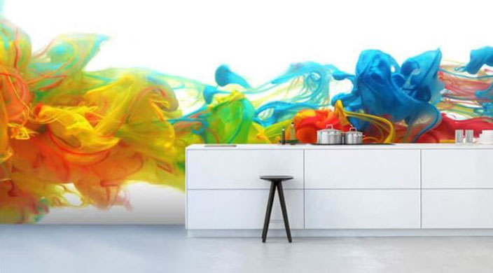 ink in water art kitchen wallpaper in kitchen