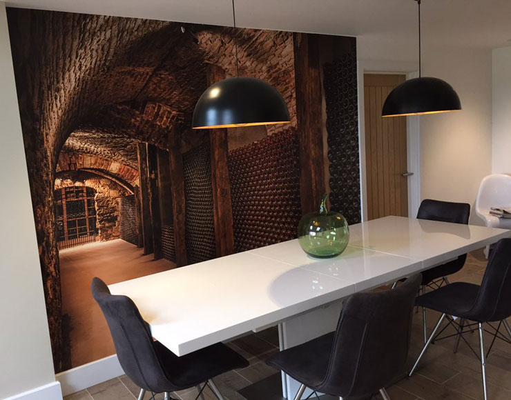 3D wine cellar mural in modern dining room