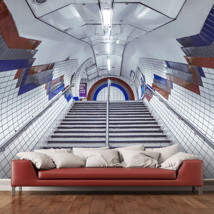 london underground mural in modern living room