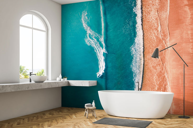 aerial view beach mural in minimalist bathroom