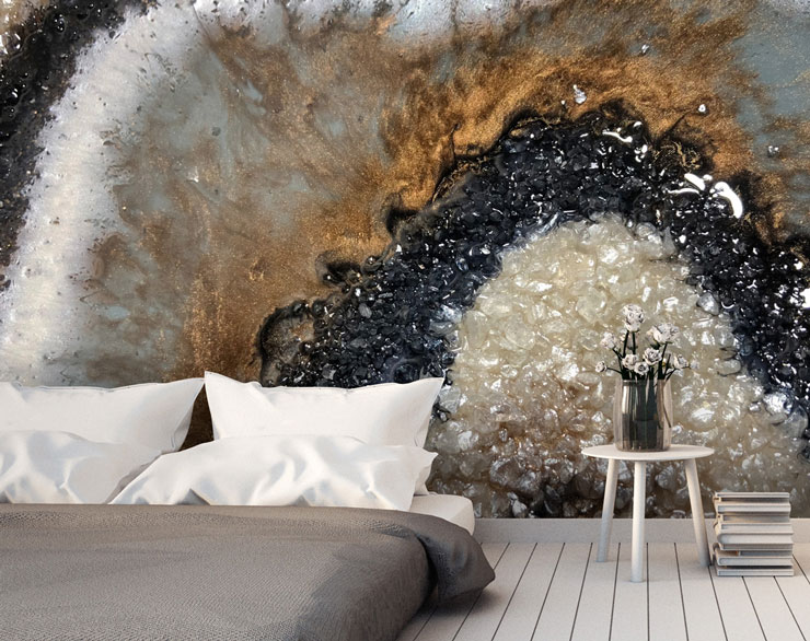 geode crystal wallpaper in modern master bedroom